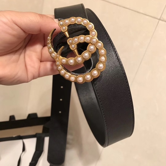 0a0cb8319 Gucci Other | Belt Wide Leather Belt With Pearl Double G | Poshmark